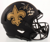 "Drew Brees Signed Saints Eclipse Alternate Full-Size Speed Helmet Inscribed ""SB XLIV MVP (Beckett COA & Brees Hologram) at PristineAuction.com"