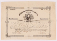 1875 Confederate States of America $50 Fifty Dollar Bank Loan Note at PristineAuction.com
