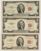 Lot of (3) 1953 $2 Two-Dollar Red Seal U.S. Legal Tender Notes at PristineAuction.com