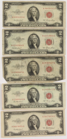 Lot of (5) 1953 $2 Two-Dollar Red Seal U.S. Legal Tender Notes at PristineAuction.com