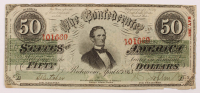 1863 $50 Fifty-Dollar Confederate States of America Richmond CSA Bank Note at PristineAuction.com