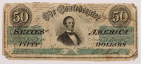 1862 $50 Fifty-Dollar Confederate States of America Richmond CSA Bank Note at PristineAuction.com
