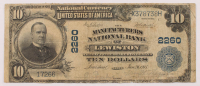 1902 $10 Ten-Dollar U.S. National Currency Large-Size Bank Note - The Manufacturers National Bank of Lewiston, Maine at PristineAuction.com