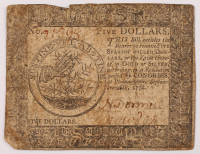 1778 $5 Five Dollars - Continental - Colonial Currency Note at PristineAuction.com