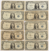 Lot of (10) 1935-57 $1 One-Dollar U.S. Silver Certificates at PristineAuction.com