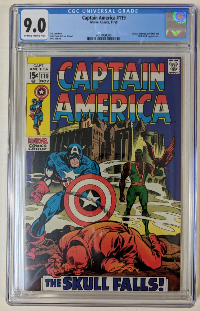 "1969 ""Captain America"" Issue #119 Marvel Comic Book (CGC 9.0) at PristineAuction.com"