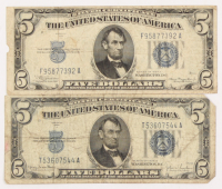 Lot of (2) 1934 $5 Five-Dollar U.S. Silver Certificates at PristineAuction.com