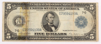 1914 $5 Five Dollars Blue Seal Silver Certificate Bank Note at PristineAuction.com