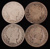 Lot of (4) Barber Silver Half Dollars with 1892, 1895, 1902-O & 1909 at PristineAuction.com