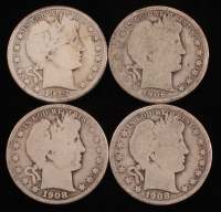 Lot of (4) Barber Silver Half Dollars with 1906, 1908-O, 1908-D & 1915-D at PristineAuction.com
