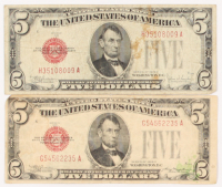 Lot of (2) 1928 $5 Five-Dollar Red Seal U.S. Legal Tender Notes at PristineAuction.com