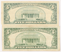 Lot of (2) 1953 $5 Five-Dollar Red Seal U.S. Legal Tender Notes at PristineAuction.com
