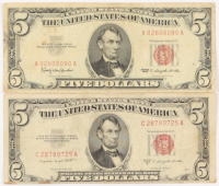 Lot of (2) 1953-63 $5 Five-Dollar Red Seal U.S. Legal Tender Notes at PristineAuction.com