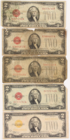 Lot of (5) 1928 $2 Two-Dollar Red Seal U.S. Legal Tender Notes at PristineAuction.com