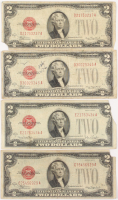 Lot of (4) 1928 $2 Two-Dollar Red Seal U.S. Legal Tender Notes at PristineAuction.com