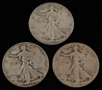 Lot of (3) 1934-37 Walking Liberty Silver Half Dollars at PristineAuction.com