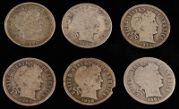 Lot of (6) 10¢ Barber Dimes With 1900, 1901, 1906-O, 1908, 1908-D & 1914-D at PristineAuction.com
