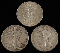 Lot of (3) 1935-40 Walking Liberty Silver Half Dollars at PristineAuction.com