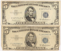 Lot of (2) 1953 $5 Five-Dollar U.S. Silver Certificates at PristineAuction.com