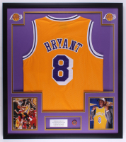 Kobe Bryant Lakers 32x36 Custom Framed Jersey Display with Kobe Bryant 2020 Hall of Fame Induction Pin at PristineAuction.com