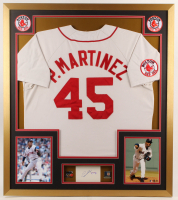 Pedro Martinez Signed 32x36 Custom Framed Cut Display with (2) 2004 World Series Championship Pins (PSA COA) (See Description) at PristineAuction.com