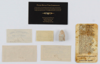 Lot of (4) Civil War Items with Gettysburg Bullet, 4¢ Stamp & (3) 1861-1864 Confederate States of America Richmond CSA Bank Note Bonds at PristineAuction.com