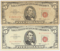 Lot of (2) 1963 $5 Five-Dollar Red Seal U.S. Legal Tender Notes at PristineAuction.com