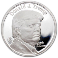 Donald J. Trump 45th President Commemorative Silver Round - 1 Ounce .999 Fine Silver at PristineAuction.com