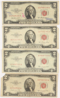 Lot of (4) 1953 $2 Two-Dollar Red Seal U.S. Legal Tender Notes at PristineAuction.com
