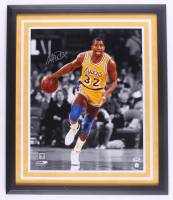 Magic Johnson Signed Lakers 22x26 Custom Framed Photo Display (PSA Hologram) at PristineAuction.com