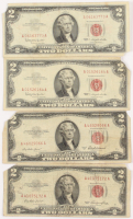 Lot of (4) 1953-63 $2 Two-Dollar Red Seal U.S. Legal Tender Notes at PristineAuction.com