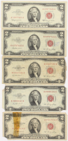 Lot of (5) 1953-63 $2 Two-Dollar Red Seal U.S. Legal Tender Notes at PristineAuction.com
