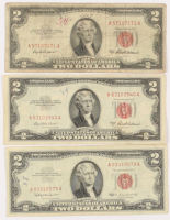 Lot of (3) 1953-63 $2 Two-Dollar Red Seal U.S. Legal Tender Notes at PristineAuction.com