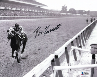 Ron Turcotte Signed 8x10 Photo with Secretariat at the 1973 Belmont Stakes (Beckett COA) at PristineAuction.com