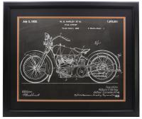 Harley Davidson Chalk Patent 23x27 Custom Framed Print Display at PristineAuction.com