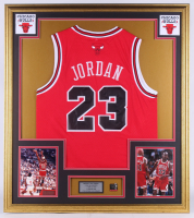 Michael Jordan 32x36 Custom Framed Jersey With Michael Jordan Scoring Champion Pin at PristineAuction.com