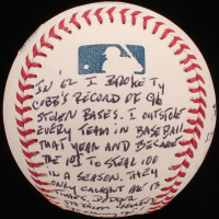 "Maury Wills - Hand Written & Signed Story Baseball - ""First Player To Steal 100 Bases In A Single Season"" (Stallard COA & JSA COA) at PristineAuction.com"