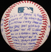 """Maury Wills - Hand Written & Signed Story Baseball - """"First Player To Steal 100 Bases In A Single Season"""" (Stallard COA & JSA COA) at PristineAuction.com"""