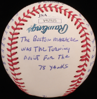 "Roy White - Hand Written & Signed Story Baseball - ""The Boston Massacre At Fenway"" (Stallard COA & JSA COA) at PristineAuction.com"