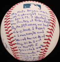 "Jay Hook - Hand Written & Signed Story Baseball - ""First New York Mets Win - April 23, 1962"" (Stallard COA & JSA COA) at PristineAuction.com"