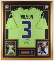 Russell Wilson Signed Seahawks 32.5x36.5 Custom Framed Jersey With Super Bowl XLVII Pin (Wilson COA & JSA COA) at PristineAuction.com