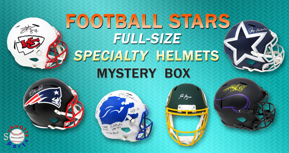 Schwartz Sports Football Superstar Signed Full Size Specialty Helmet Mystery Box – Series 4 (Limited to 50) at PristineAuction.com