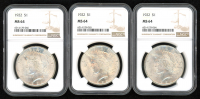 Lot of (3) 1922 $1 Peace Silver Dollar (NGC MS 64) at PristineAuction.com