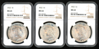 Lot of (3) 1922 $1 Peace Silver Dollars (NGC MS 64) at PristineAuction.com
