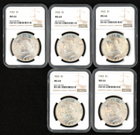 Lot of (5) 1922 $1 Peace Silver Dollars (NGC MS 64) at PristineAuction.com