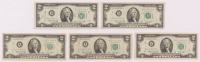 Lot of (5) 1976 $2 Two Dollar Green Seal U.S. Federal Reserve Notes at PristineAuction.com
