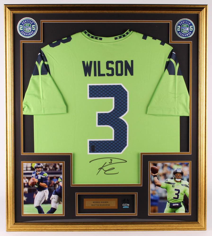 Russell Wilson Signed Seahawks 32.5x36.5 Custom Framed Jersey ...