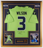 Russell Wilson Signed Seahawks 33x37 Custom Framed Jersey With Super Bowl XLVII Champions Pin (Wilson COA & JSA COA) at PristineAuction.com