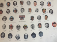 """Nascar's 50 Greatest Drivers"" 26x39 LE Lithograph Signed by (34) with Dale Earnhardt, Bill Elliott, Red Farmer, Tim Flock, A.J. Foyt, Jeff Gordon (PSA LOA) at PristineAuction.com"
