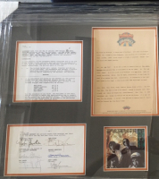 """Traveling Wilburys"" 24x33 Custom Framed Record Contract Signed by (5) with Bob Dylan, George Harrison, Jeff Lynne, Barbara Orbison & Tom Petty (PSA LOA) at PristineAuction.com"
